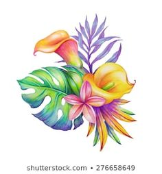 abstract tropical bunch of flowers and leaves, exotic nature, watercolor illustration isolated on white background