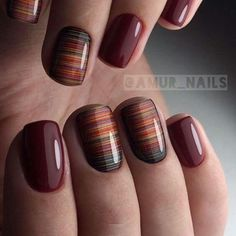 Nail art is a very popular trend these days and every woman you meet seems to have beautiful nails. It used to be that women would just go get a manicure or pedicure to get their nails trimmed and shaped with just a few coats of plain nail polish. Gel Nail Art Designs, Short Nail Designs, Fall Nail Designs, Stripe Nail Designs, Trendy Nails, Cute Nails, My Nails, Dark Nails, Brown Nails