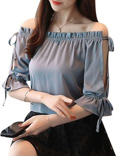Buy Women's Blouse Solid Slash Neck Flare Sleeve Top & Blouses - at Jolly Chic #blusas - Kudur Agla