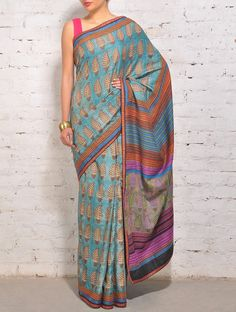 Multi-Color Tussar Silk Kantha Saree