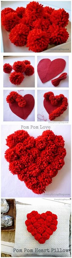 """DIY Pom Pom Heart. I would use it as a Valentine """"wreath"""" for my door instead of putting it on a pillow."""