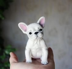 little dog French Bulldog, Needle felted dog, Need - dog Needle Felted Animals, Felt Animals, Needle Felting, Cute Animals, Happy Birthday French Bulldog, Puppy Stages, Felt Dogs, Puppy Breeds, Cartoon Dog