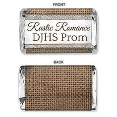 Add your custom text to these Rustic Romance Mini Candy Bar Wrappers that feature a burlap style background with your custom text across the center.