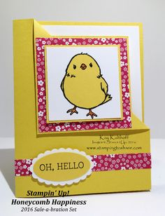 Stampin' Up! Honeycomb Happiness Cornerfold Card with How To Video!, Cute Chick Card, Kay Kalthoff, #stampingtoshare