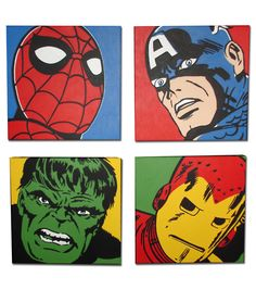 "CLASSIC MARVEL SUPER HEROES Spider-Man, Captain America, Hulk and Iron Man ACRYLIC on CANVAS FOUR 20"" X 20"" Paintings These would look cool in the boys room"