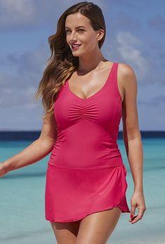 SwimsuitsForAll - Shore Club Guava Sarong Swimdress - AdoreWe.com