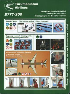 Safety Card  Turkmenistan Airlines B777-200 (1) Front