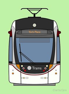 'Edinburgh Tram ' Art Print by Charlie Care Canvas Art Prints, Framed Prints, Train Drawing, Thing 1, British Rail, Long Hoodie, Paper Size, Large Prints, Edinburgh