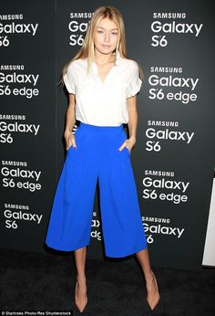 Seventies style: Gigi Hadid kept up with appearances as she arrived to the Samsung Galaxy ...