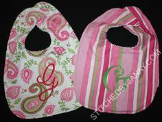 monogrammed bibs - Made by Janay - lots of kids embroidery ideas