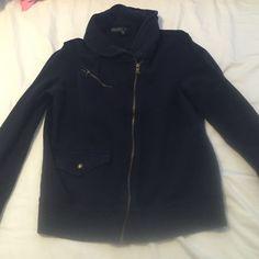 Ralph Lauren sweat jacket Navy blue jacket with gold zipper. Zips up the left side. Great condition! Ralph Lauren Sweaters Cardigans