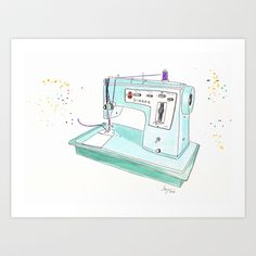 Vintage+Mint+Singer+Sewing+Machine+Art+Print+by+Artisania+-+$18.00