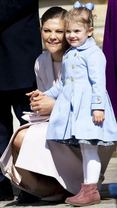 hrhroyalty:  Crown Princess Victoria and Princess Estelle, April 30, 2015