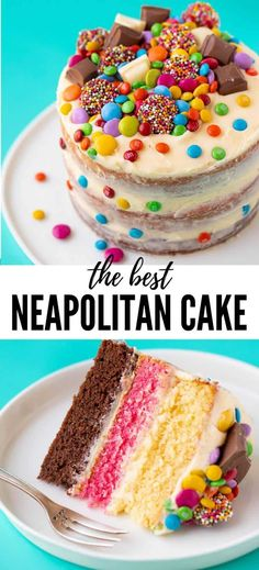 An easy Neapolitan Cake made using just one cake batter Three layers of chocolate vanilla and strawberry combine to make one stunning layer cake covered in creamy vanilla. Chocolate Bonbon, Chocolate Cookie Recipes, Chocolate Chip Cookies, Cake Chocolate, Baking Chocolate, Chocolate Protein, Chocolate Birthday Cake Kids, Strawberry Birthday Cake, Strawberry Cakes