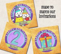 Max and Ruby Cupcake Toppers / Tags yellow by missbellaexpressions,