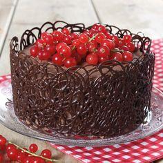 Chocolade taart met filigrain