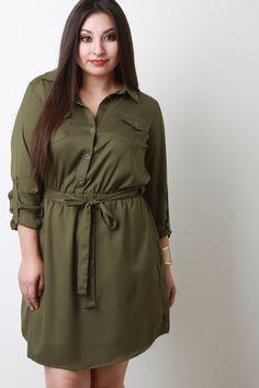 Button-Up Self-Tie Long Sleeve Dress