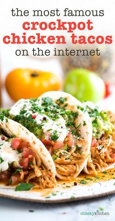 The Most Famous Crockpot Chicken Tacos on the Internet —  3-ingredients and 5 minutes of prep makes this recipe a weeknight keeper. Quick, easy and insanely flavorful, with chicken so tender it falls apart once cooked, there was no whining from the kids when this hit the dinner table. | Slow cooker, easy, family favorite, taco night, taco tuesday