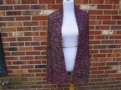Vineyard Purple, Pink, Chartreuse, Yellow Knit XL Prayer Shawl in Homespun Handmade Wrap by PoppyLesti on Etsy