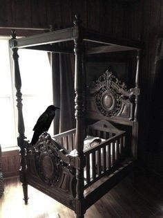 Have An Inquiring Mind Antique Carved Oak Baby Cradle Cot Crib Sufficient Supply we Had This W/ Four Poster - See Video