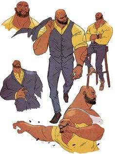 POWER MAN AND IRON FIST Returns to Marvel Comics!, Marvel continues to invigorate the creative landscape with writer David Walker and artist Sanford Greene Luke Cage and Danny Rand – heroes for h. Character Sheet, Character Modeling, Character Concept, Character Art, Concept Art, Character Poses, Character Reference, Luke Cage, Comic Book Characters