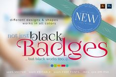 not just black Badges Just fill in your text, pick a color and you are ready to go. FEATURES - Compatible with Adobe InDesign - AI, PDF, PSD - 9 Badges - 5 All Colours Name, All The Colors, Romeo Und Julia, Cosmetics Mockup, 100 Free Fonts, Shape Names, Video Artist, Different Words, Retail Logo