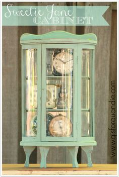 Miniature bow front curio cabinet painted in Sweet Pickins' Sweetie Jane milk paint.