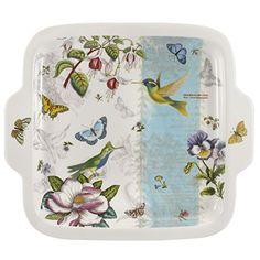 Portmeirion Botanic Garden plato de postre cuadrado de colibrí 27,5cm/10.8'doble mango alta calidad Floral Porcelana Vajilla de cerámica apta para lavavajillas y microondas, horno a la mesa y congelador prueba #vajilla #porcelana