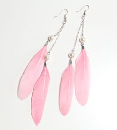 Soft Pink Feathers & Pearl Earrings