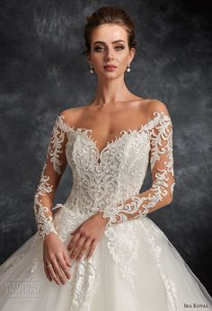 ira koval 2017 bridal long sleeves off the shoulder sweetheart neckline heavily embellished bodice elegant romantic ball gown a  line wedding dress open back sweep train (616) zv -- Ira Koval 2017 Wedding Dresses