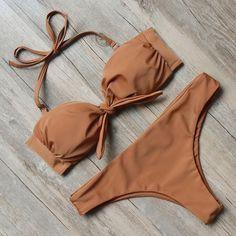 Brown-Halter-Top-Bandeau-Top-Bikinis-Set-Swimwear