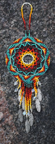 °Native American Oglala Lakota Handmade Beaded DreamCatcher by JaidaGreyEagle Indian Beadwork, Native Beadwork, Native American Beadwork, Native American Jewelry, Loom Beading, Beading Patterns, Bracelet Patterns, Mundo Hippie, Beadwork Designs