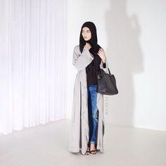 INAYAH | Grey Maxi #Kimono + Black Crepe #Top + Black Modal #Hijab www.inayahcollection.com