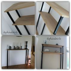 DIY decor make an industrial style console furniture yourself quickly and inexpensively Stéphanie DIY Buffet Console, Console Furniture, Diy Furniture, Diy Entryway Table, Decoration Hall, Home Organisation, Recycled Furniture, Ladder Decor, Room Decor