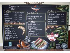 Professional Chalkboard Art Signs & Menus Ont Canada and US Coffee Chalkboard, Chalkboard Print, Chalkboard Designs, Blackboard Menu, Menu Restaurant, Restaurant Design, Coffee Shop Menu, Coffee Shop Design, Menu Design