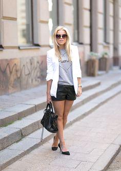 LEATHER SHORTS WITH HEELS : P.S. I love fashion by Linda Juhola