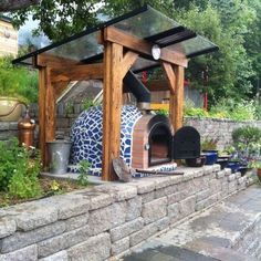 Insulated Wood Pizza Oven, pergola water harvest too