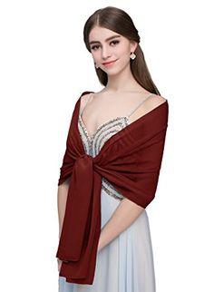 Kileyi Women s Long Solid Chiffon Shawls Wraps for Wedding Evening Formal  Dress Burgundy 75