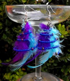 A Pair of Blue And Purple Feathers in a Blue and Iridescent Spiral Earrings Jewelry FREE SHIPPING $10