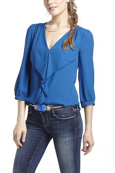 simple..yet beautiful  Parted Ruffle Blouse #anthropologie