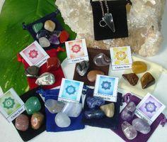 28 Chakra Healing Balancing Tumbled Stones Kit and Pendulum for Beginners.