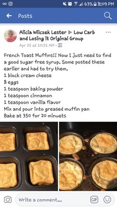 Low-Carb, Keto French Toast Muffins - Add a little stevia/ Low Carb Desserts, Low Carb Recipes, Low Carb Flan Recipe, Diet Recipes, Cetogenic Diet, Pain Keto, French Toast Muffins, Starting Keto Diet, Low Carb Breakfast