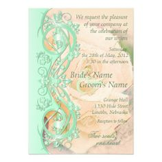 Elegant Scroll Wedding Invitation-Mint Green Peach