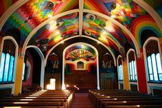 okuda san miguel colorizes the church of cannabis with hallucinatory scenes