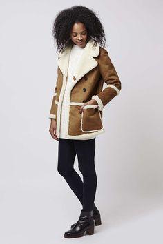 Faux-Shearling Car Coat, brown tan white, $150 | Topshop