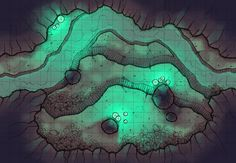 The Glowing Cavern, a battle map for D&D / Dungeons & Dragons, Pathfinder, Warhammer and other table top RPGs. Tags: cave, underground, underdark, river, water, spooky