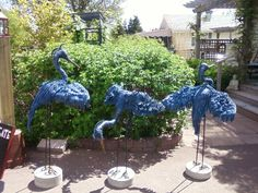 """These are three large herons - 55"""" tall - I get the fabulous blue denim colour by mixing blue with metallic grey."""