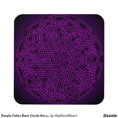 Purple Celtic Knot Circle Set of 6 Coasters