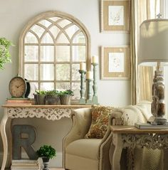 French Country Home love the mirror and table