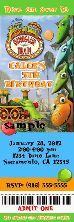 Dinosaur Train Ticket Birthday Party By Designsbychristyne On Etsy 1050 Dino